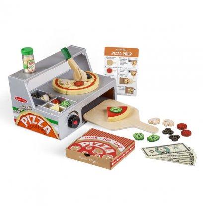 9465 ชุดเล่นทำพิซซ่าครบชุด มีเตาปิ้ง ถาดรอง ตัวโด ท้อปปิ้งมากมาย เมนู และอุปกรณ์ครบชุดทั้งหมดรวม 34 ชิ้น ทำด้วยไม้ทั้งหมด  Top & Bake Pizza Counter