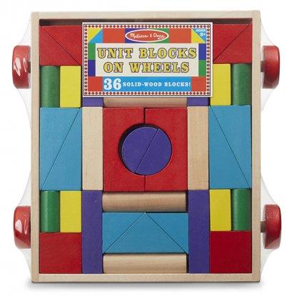 Melissa & Doug รุ่น 4209 Unit Blocks on Wheels ชุดบล๊อกไม้ สารพัดรูปร่างและหลากสีมาพร้อมรถลาก ส่งเสริมการวางแผน เรียนรู้เรื่องสี เสริมสร้างการเล่นแบบมีจินตนาการ(copy)