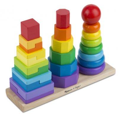 567 ของเล่นไม้ หยอดเสา 3 เสา ฝึกทักษะ การต่อ รูปร่าง สี รูปทรงเรขาคณิต Geometric Stacker