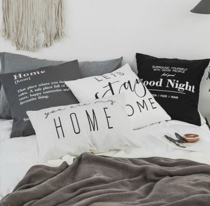 'HOME' pillow case