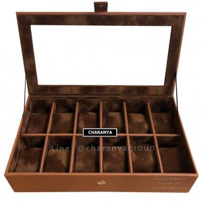 กล่องใส่นาฬิกา 12 เรือน Series M CHR12_L Brown-Brown
