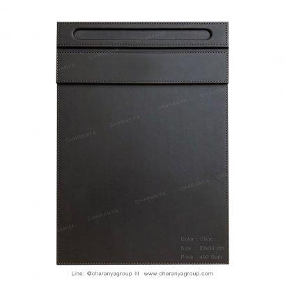 แผ่นหนังรองเซ็นต์ รองเขียน  แฟ้มหนังรองเขียน แผ่นหนังรองกระดาษA4 กระดานรองเขียนขนาดวางกระดาษ A4 เกรดพรีเมี่ยม อย่างดี Choc สีช้อค สีน้ำตาลเข้ม สีน้ำตาลไหม้ TEL: 0936699642