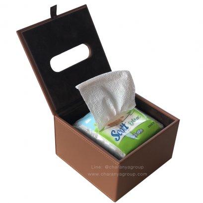 กล่องกระดาษทิชชู่หนัง แบบป๊อปอัพ  Pop-up Tissue Paper Box