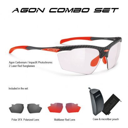 Rudy Project Agon Carbonium ImpactX 2 Laser Red Special Combo Set