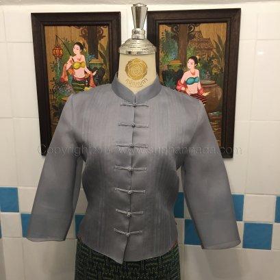 เสื้อไหมแก้วคอจีนกระดุมตะกร้อตีเกล็ด