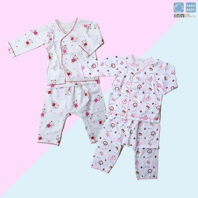 PAPA ชุดนอนเด็กผูกหน้าแขนขายาวไซส์ 0-8 เดือน ทำจาก Cotton 100% นุ่ม ใส่เย็นสบาย