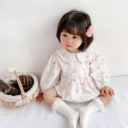COCO BY PAPA ชุดรอมเปอร์คอบัว แขนยาว ชุดกระโปรงเด็กหญิง เดรสเด็ก ชุดเด็กผู้หญิง  Baby Disty Floral เนื่อผ้านิ่ม สวมใส่สบ