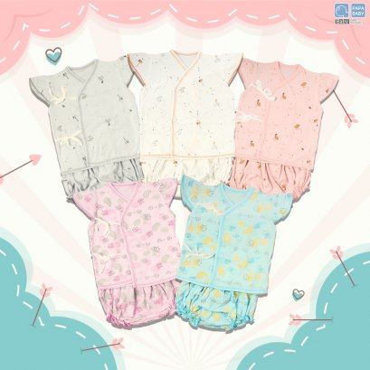 PAPA ชุดเด็กแขนระบายผูกหน้าพร้อมกางเกงใน ไซส์0-8 เดือน ทำจาก Cotton 100% นุ่ม ใส่เย็นสบาย