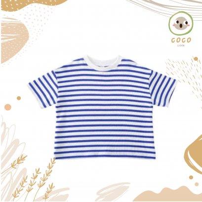 COCO BY PAPA เสื้อยืดคอกลม แขนสั้น ผ้าCotton100% เนื้อนิ่ม เสื้อเด็กสไตล์เกาหลี Stripe Top Shirt ไม่หนาใส่สบาย