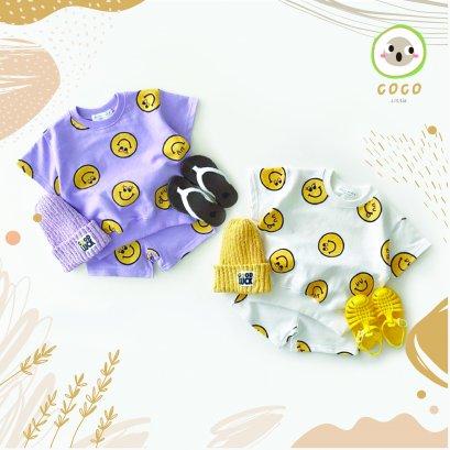 COCO BY PAPA ชุดเซท เสื้อ+กางเกง แขนขาสั้น ลายหน้ายิ้ม เสื้อผ้าเด็ก ชุดเด็ก Yellow Smile Face เนื้อผ้านิ่ม สวมใส่สบาย