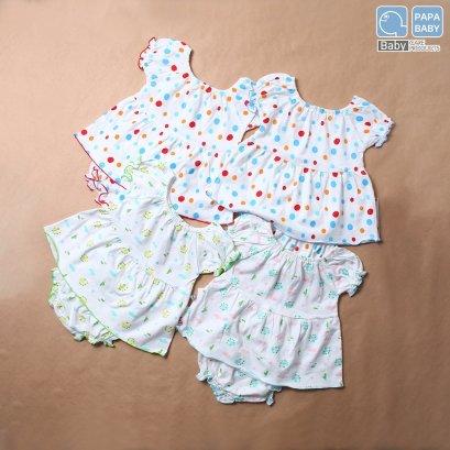 PAPA ชุดเด็กกหญิงคอจั้มแขนจั้ม พร้อมกางเกงใน ไซส์ 0-10 เดือน ทำจาก Cotton 100% นุ่ม ใส่เย็นสบาย