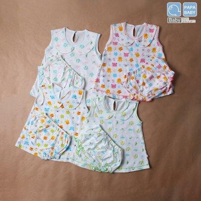 PAPA ชุดเด็กเสื้อกล้ามหญิงคอบัวพร้อมกางเกงใน ไซส์ 0-10 เดือน ทำจาก Cotton 100% นุ่ม ใส่เย็นสบาย