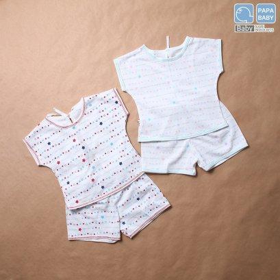 PAPA ชุดเด็กแขนสั้นผูกหลังพร้อมกางเกงขาสั้น ไซส์0-8 เดือน ทำจาก Cotton 100% นุ่ม ใส่เย็นสบาย