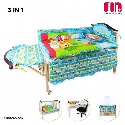 เตียงไม้ เตียงนอนเด็ก 3 IN 1 แถมฟรี! ชุดที่นอนครบเซ็ท รุ่น CARMC606OAK