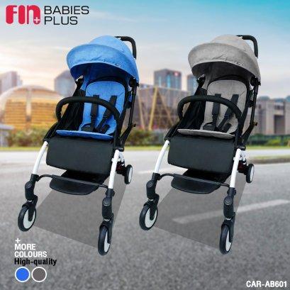 FIN รถเข็นเด็กพับเก็บง่าย พร้อมหลังคาและที่กั้น ปรับนอนได้   ปลอดภัยด้วยระบบล็อค 5 จุด รุ่น CAR-AB601