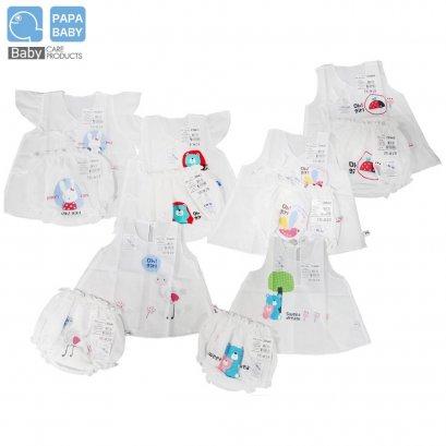 PAPA เซตชุดผ้าป่านเด็ก มีทั้งชุดเด็กชายและเด็กหญิง ทำจากผ้า Cotton 100%  ราคาชุดละ 80 บาท