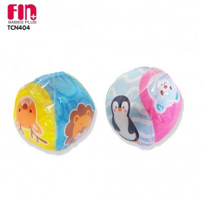 FIN ของเล่นบอลผ้าเขย่ามือลายสัตว์ มีเสียงกรุ๊งกริ๊ง animal rattles ball เสริมพัฒนาการเด็ก รุ่น TCN 404