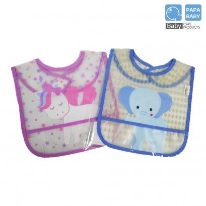 PAPABABY ผ้ากันเปื้อนแบบพลาสติกแบบใส Baby plastic  apron รุ่นBIBR10-11