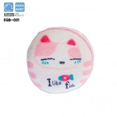 PAPA BABY ฟองน้ำหุ้มผ้าขนหนู(ทรงกลม)ลายแมวสีชมพู รุ่นEQB-021