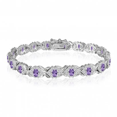 Sterling Silver Bracelet with Amethyst and CZ Length 7 Inches
