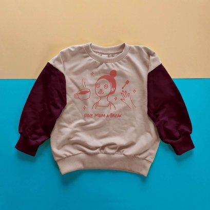 KIDS LOOSE FIT SWEATSHIRT -100% COTTON BABY FRENCH TERRY-PINK+DARK PINK