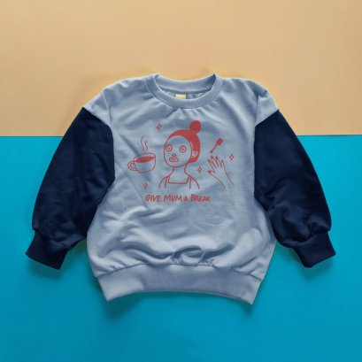 KIDS LOOSE FIT SWEATSHIRT -100% COTTON BABY FRENCH TERRY-LIGHT BKUE+NAVY BLUE