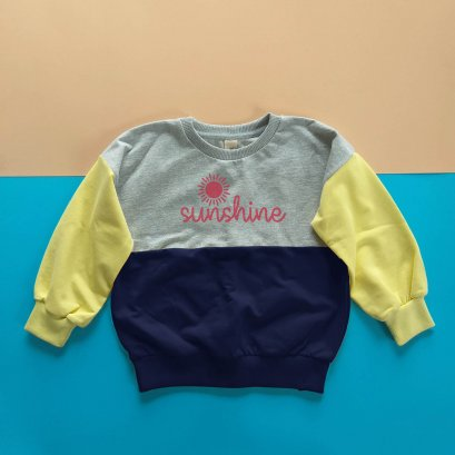 KIDS & ADULTS MATCHING LOOSE FIT SWEATSHIRT -100% COTTON BABY FRENCH TERRY-TD GREY + NAVY BLUE+YELLOW