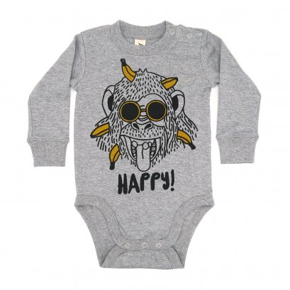 BABY 0-18M [B] LP0164 HAPPY MONKEY ONESIE