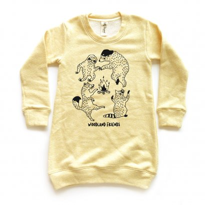 GIRL DRESS 1-7Y. LP0604 WOODLAND FRIENDS SWEATER DRESS