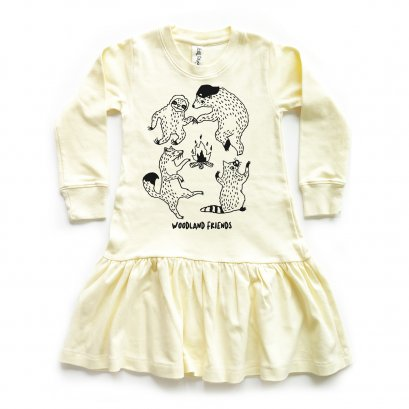 GIRL DRESS 1-7Y. LP0602 WOODLAND FRIENDS DRESS WITH RUFFLED