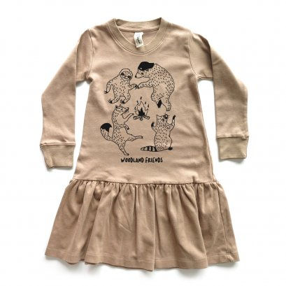 GIRL DRESS 1-7Y. LP0601 WOODLAND FRIENDS DRESS WITH RUFFLED