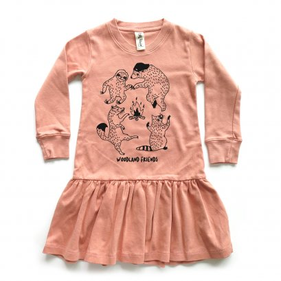 GIRL DRESS 1-7Y. LP0603 WOODLAND FRIENDS DRESS WITH RUFFLED
