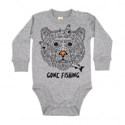 BABY 0-18M [B] LP01103 GONE FISHING ONESIE