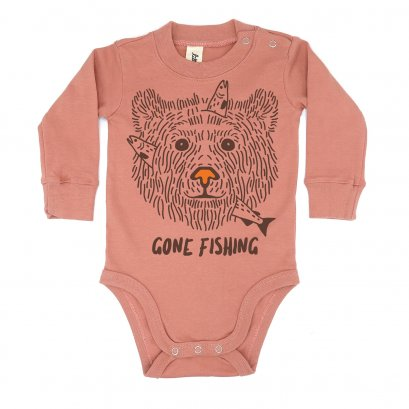 BABY 0-18M [B] LP01105 GONE FISHING ONESIE
