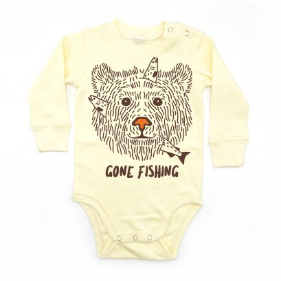 BABY 0-18M [B] LP01104 GONE FISHING ONESIE