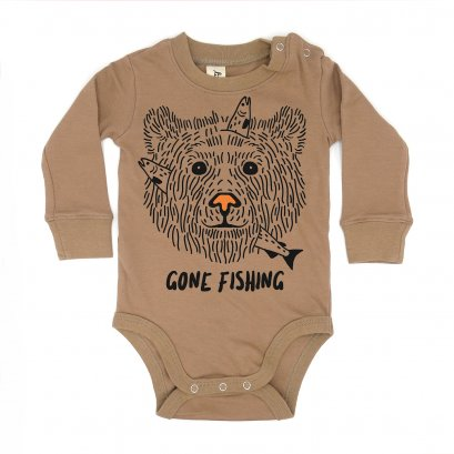 BABY 0-18M [B] LP01102 GONE FISHING ONESIE