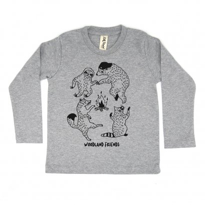 BABY/ KIDS / WOMEN / MEN LP0302 WOODLAND FRIENDS CREW NECK LONG SLEEVE