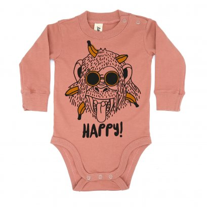 BABY 0-18M [B] LP0166 HAPPY MONKEY ONESIE