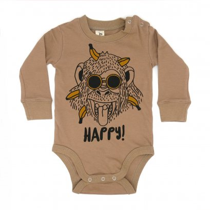 BABY 0-18M [B] LP0163 HAPPY MONKEY ONESIE