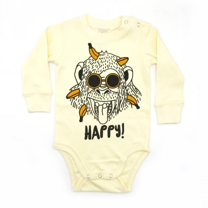 BABY 0-18M [B] LP0165 HAPPY MONKEY ONESIE