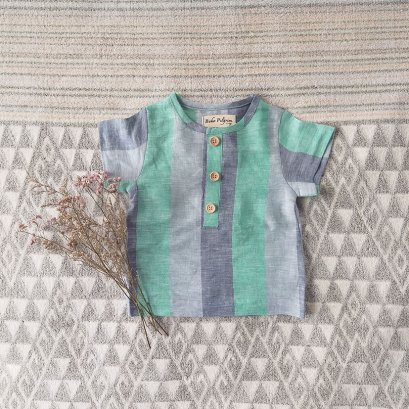 BOYS & GIRLS SHIRTS / 100% LINEN GREEN STRIPED