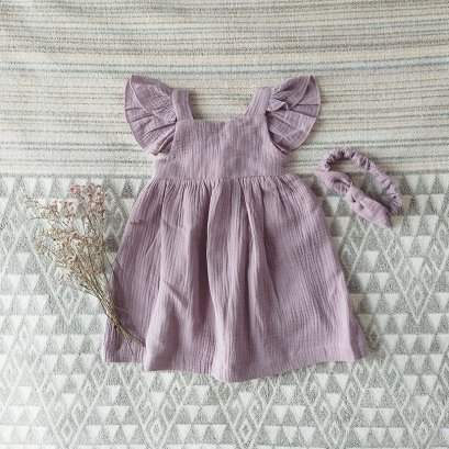 ELASTIC BACK DRESS 100% COTTON LILAC