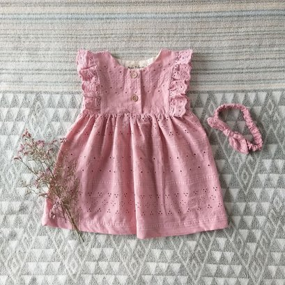 FLUTTER SLEEVES DRESS PINK EYELET 100% COTTON