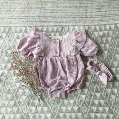 FLUTTER 3/4 SLEEVES ROMPER   100% COTTON LILAC