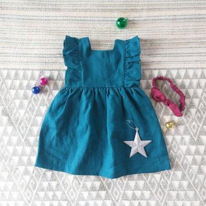 FLUTTLER SLEEVES DRESS 100% LINEN CEAN BLUE