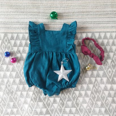 GIRLS  ROMPER 100% LINEN OCEAN BLUE