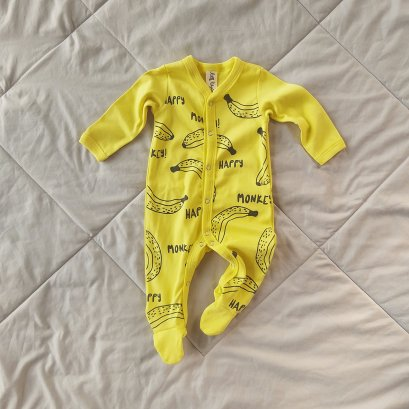 HAPPY MONKEY FOOTED ROMPER / 100% COTTON YELLOW
