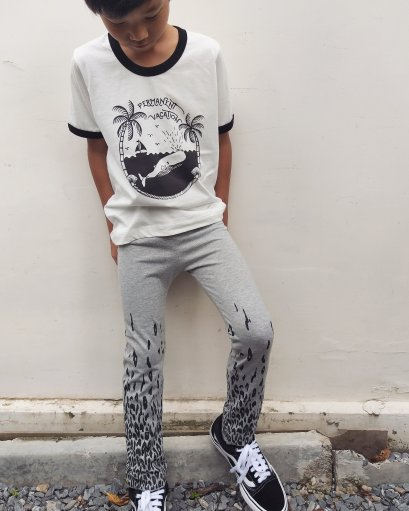 TIGER FADED TIGHT PANTS 100% COTTON GREY MARLE