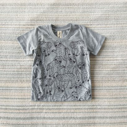 KIDS TSHIRTS SLOTHS  100% COTTON GREY MARLE
