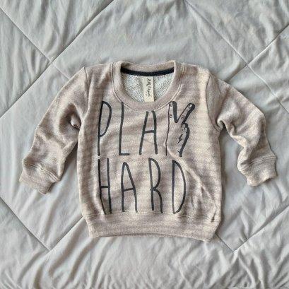 PLAY HARD / 100%COTTON KHAKI STRIPED LOOP TERRY